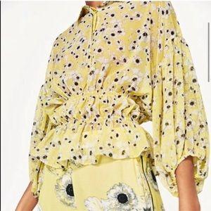 Zara Basics Floral Print Sheer Button Front Blouse